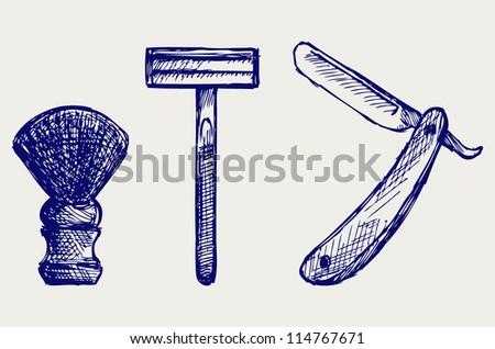 Straight razor and shaving brush. Doodle style
