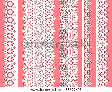 straight vector lace set. Seamless lace trims for use with fabric projects, backgrounds or scrap-booking.  Elements can also be used as brushes