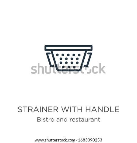 Strainer with handle icon. Thin linear strainer with handle outline icon isolated on white background from bistro and restaurant collection. Line vector sign, symbol for web and mobile Stock photo ©