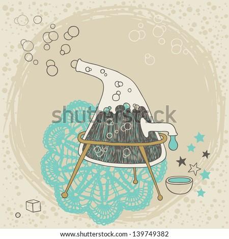 Strange distiller with boiling liquid