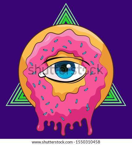 Strange Donut with pink melting icing, center eye and Illuminati triangle background