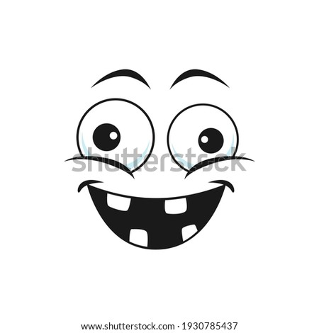 Strange emoji with broad face, crazy idiot emoticon isolated icon. Vector strange cheerful person social network emoji. Stupid emoji with rare tooth, emoticon with silly eyes, stupid face expression Foto stock ©