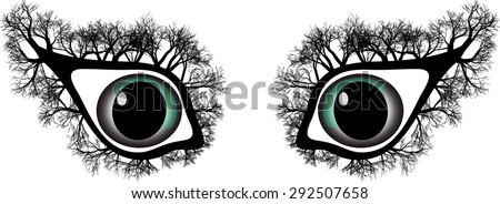 strange eyes with trees