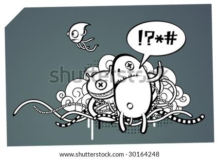 Strange graffiti image - stock vector