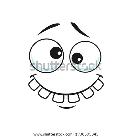 Strange stupid emoticon with broad toothy smile isolated icon. Vector strange emoji with broad smile, crazy idiot. Cheerful person social network emoji, emoticon silly eyes, confused face expression Foto stock ©