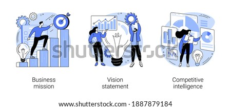 Strategic business planning abstract concept vector illustration set. Business mission, vision statement, competitive intelligence, goals and philosophy, brand success, loyalty abstract metaphor.
