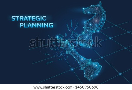 Strategic planning banner with chess pieces, electronic signals, business development, management, knights move beat a competitor, victory checkmate vector illustration