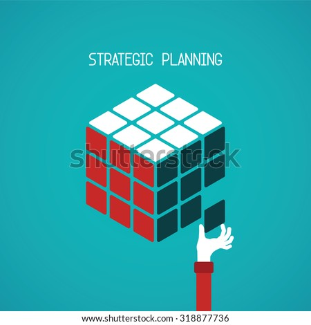 Strategic planning cube vector concept in flat style