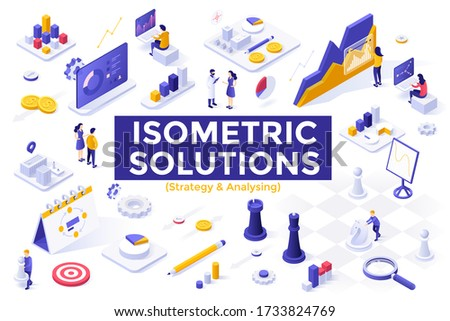 Strategy and analysis set - people analyzing statistics, statistical research, strategic business planning. Bundle of isometric design elements isolated on white background. Vector illustration.