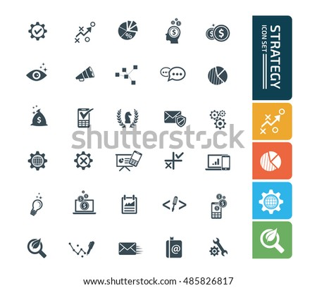 Strategy and business icon set. vector #485826817