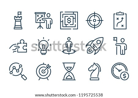 Strategy and Business Marketing line icons. Startup and Advertising vector linewar icon set. Stock photo ©