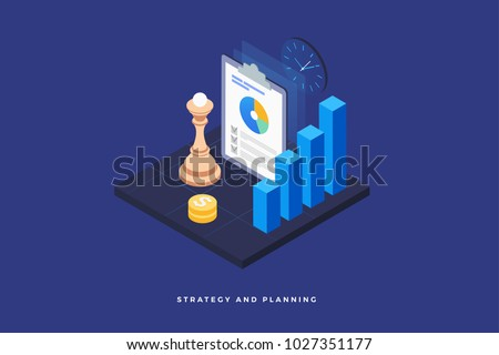 Strategy and planning, analyzing project, financial report and successful business development. Chess piece on the board, infographic, money and clock. 3d isometric flat design. Vector illustration.