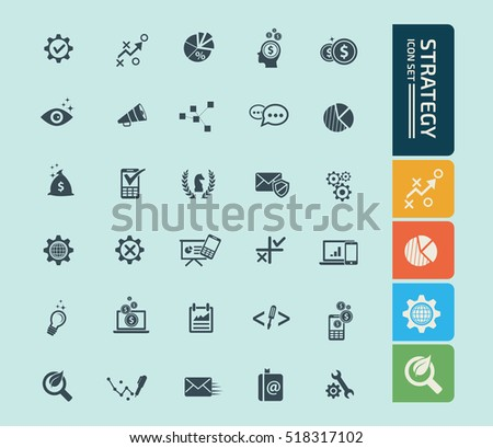 Strategy icon set,clean vector