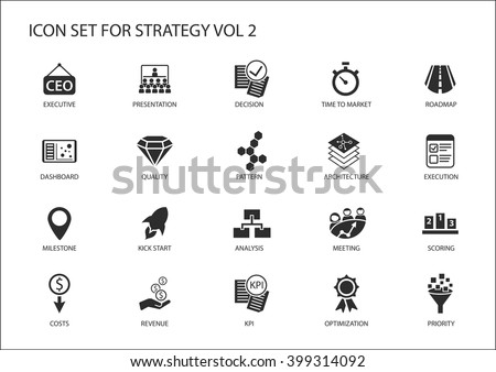 Strategy icon set. Various symbols for strategic topics like optimization,dashboard,prioritization,milestone, costs, revenue