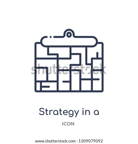 strategy in a labyrinth icon from startup stategy and success outline collection. Thin line strategy in a labyrinth icon isolated on white background.