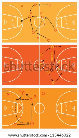 strategy or tactic plan of a basketball game, Vector illustration