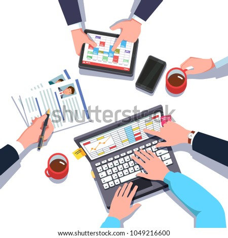 Strategy planning meeting team working together. Marketing, hr, accounting department collaboration. Overhead of business man hands working on laptop computer & tablet pc. Top view flat isolated vecto