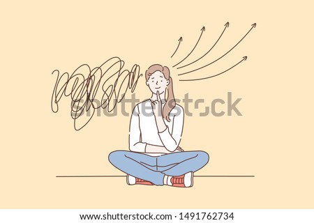 Strategy, solution, brainstorm concept. A young woman solves a puzzle and finds a solution. Concentrated student girl thinking or looks for the answer to a question. Simple flat vector.