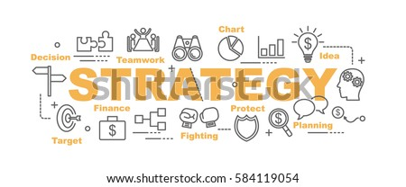 strategy vector banner design concept, flat style with thin line art icons on white background