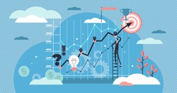 Strategy vector illustration. Flat tiny development planning person concept. Work finance and profit right management for performance growth. Business statistics optimization analysis and presentation