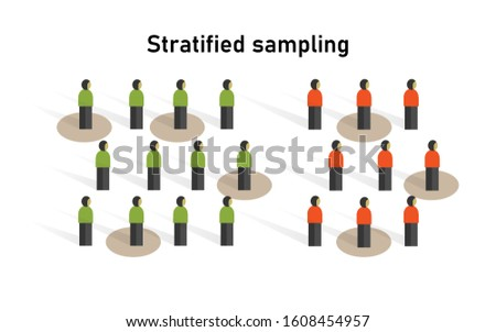 stratified sampling method in statistics. Research on sample collecting data in scientific survey techniques. Foto d'archivio ©