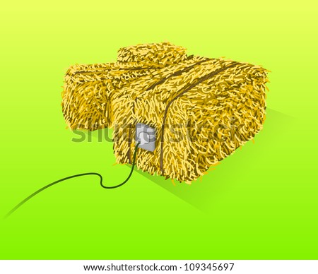 Straw Bales Illustration - Handmade yellow straw bales on green background