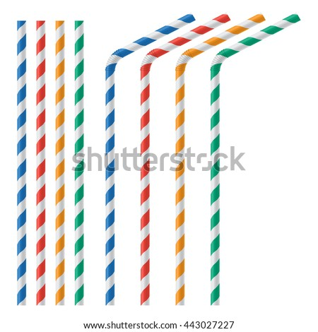 Straw for beverage colorful vector illustration isolated on a white background Stock photo ©