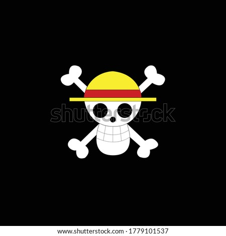 straw hat pirate logo isolated