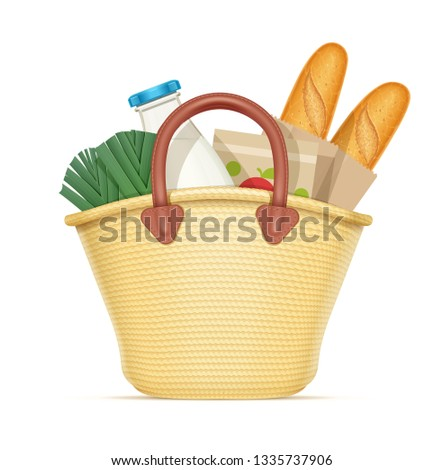 Straw shopping bag with food. Eco wicker basket for products. Chaff handbag. Milk, leek, baguette, bread. Isolated white background. Eps10 vector illustration.
