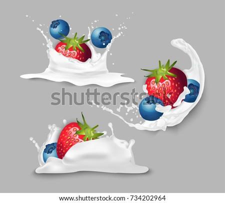 Strawberries and blueberries in yogurt.