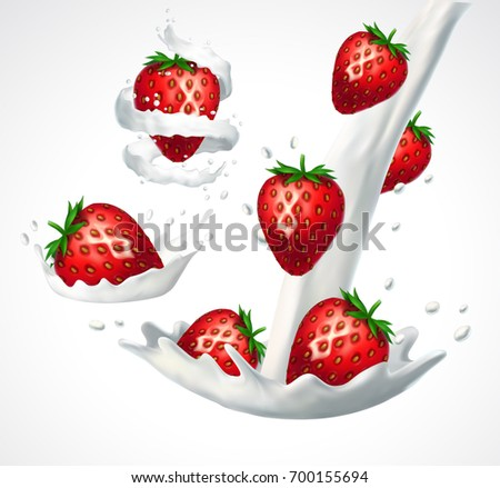 Strawberries and milk splashes. 3d vector isolated on white background. Realistic illustration