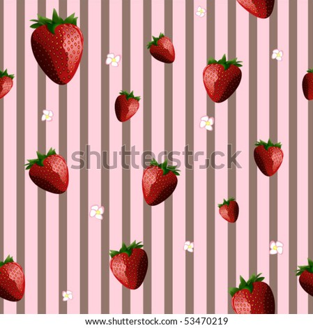 Strawberries and Stripes Seamless Background - Vector Illustration