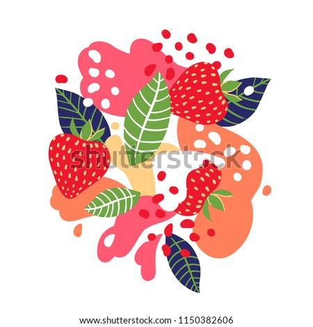 strawberries on abstract