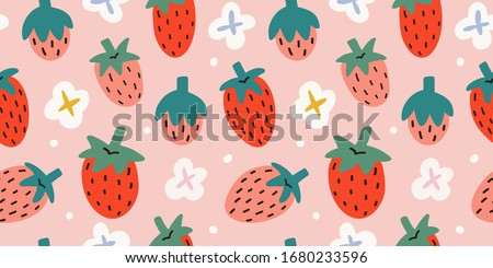 Strawberries pattern, colorful seamless vector pattern with cute hand drawn summer berries, seasonal dessert, pink and red fruit, good as fabric print, colored cartoon illustrations