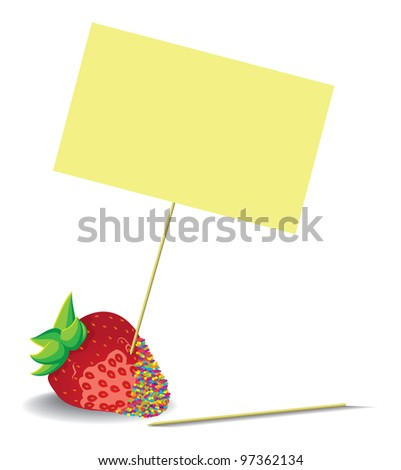 strawberries with blank Note