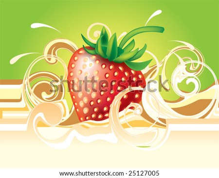Strawberry and cream. Vector for design