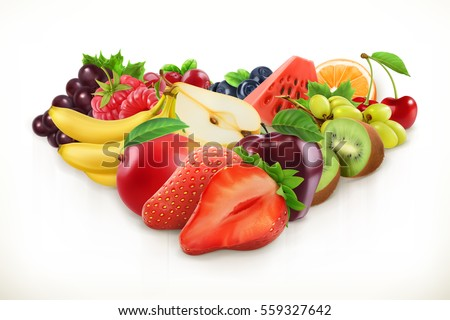 strawberry and juicy fruits