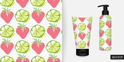 Strawberry and lime seamless pattern. Sweet food pattern. Abstract background fruit, berry. Vector illustration. Trendy repeating texture. Modern ornament. Mockup.