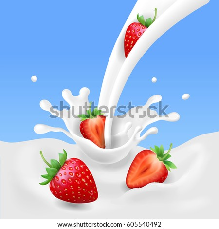 strawberry and milk  realistic