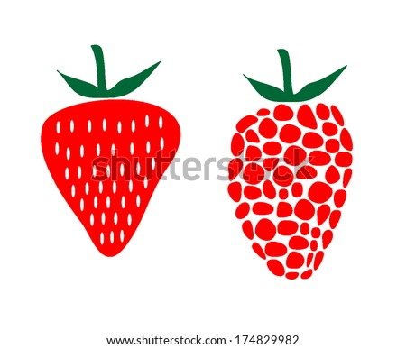 Strawberry and raspberry vector illustration