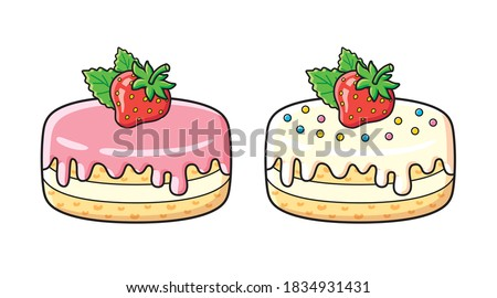 strawberry cakes or pastry