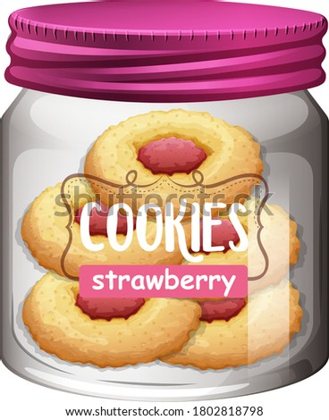 Strawberry cookies in glass jar illustration
