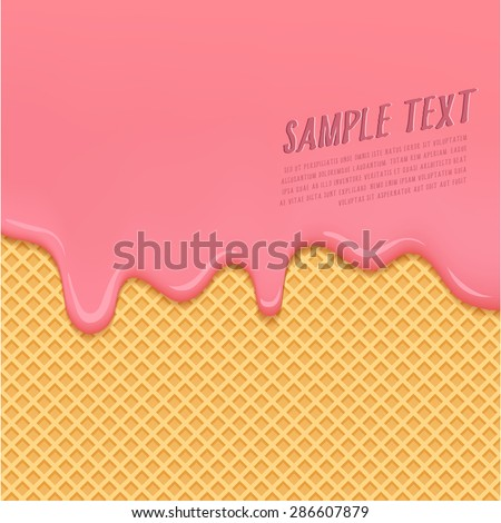 Strawberry Cream Melted on Wafer Background : Vector Illustration