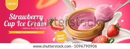 Strawberry cup ice cream ads with milk pouring down from top with fruit on pink background.