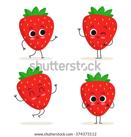 strawberry cute fruit vector