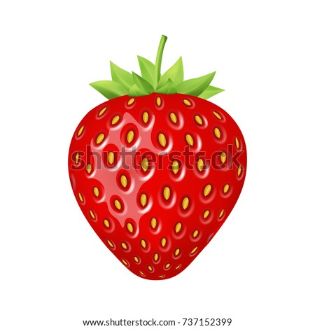 Strawberry 3d vector icon  isolated on white background. Realistic sweet fruit.