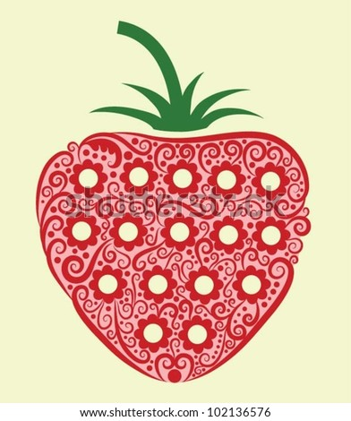 Strawberry decorative ornament. fruit silhouette with floral ornament decoration