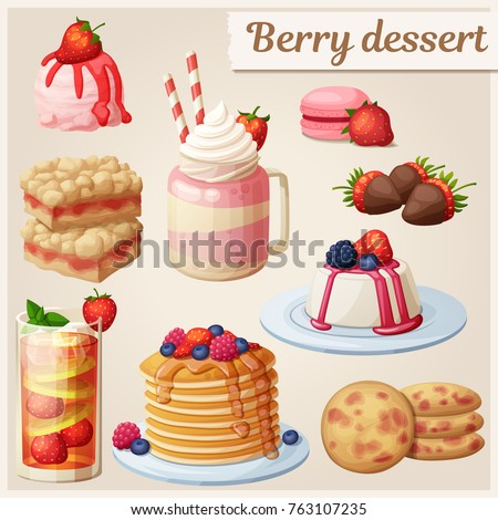 Strawberry dessert collection. Cartoon style vector icons. Berry sweet food illustration set