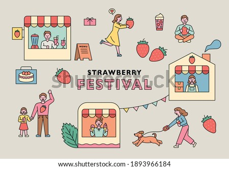 Strawberry festival poster. Many shops and guests of the Strawberry Festival.