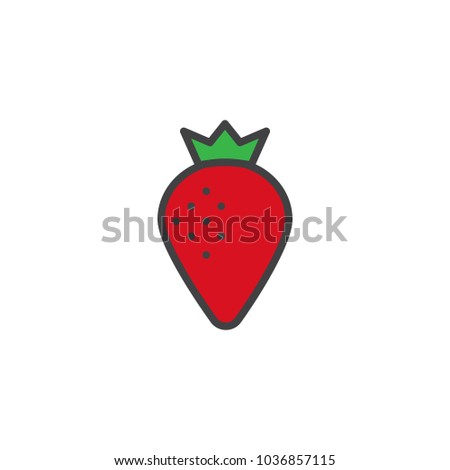 strawberry filled outline icon